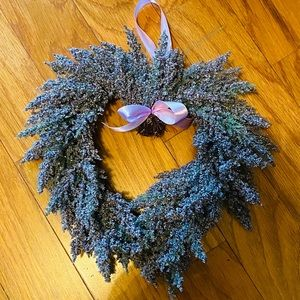 New! Lavendar heart wreath w/ purple satin ribbon